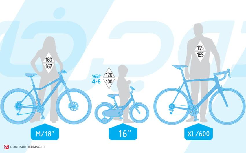 جدول سایز دوچرخه